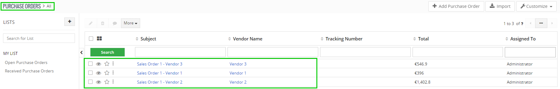 How to create Purchase Order for each Vendor separately
