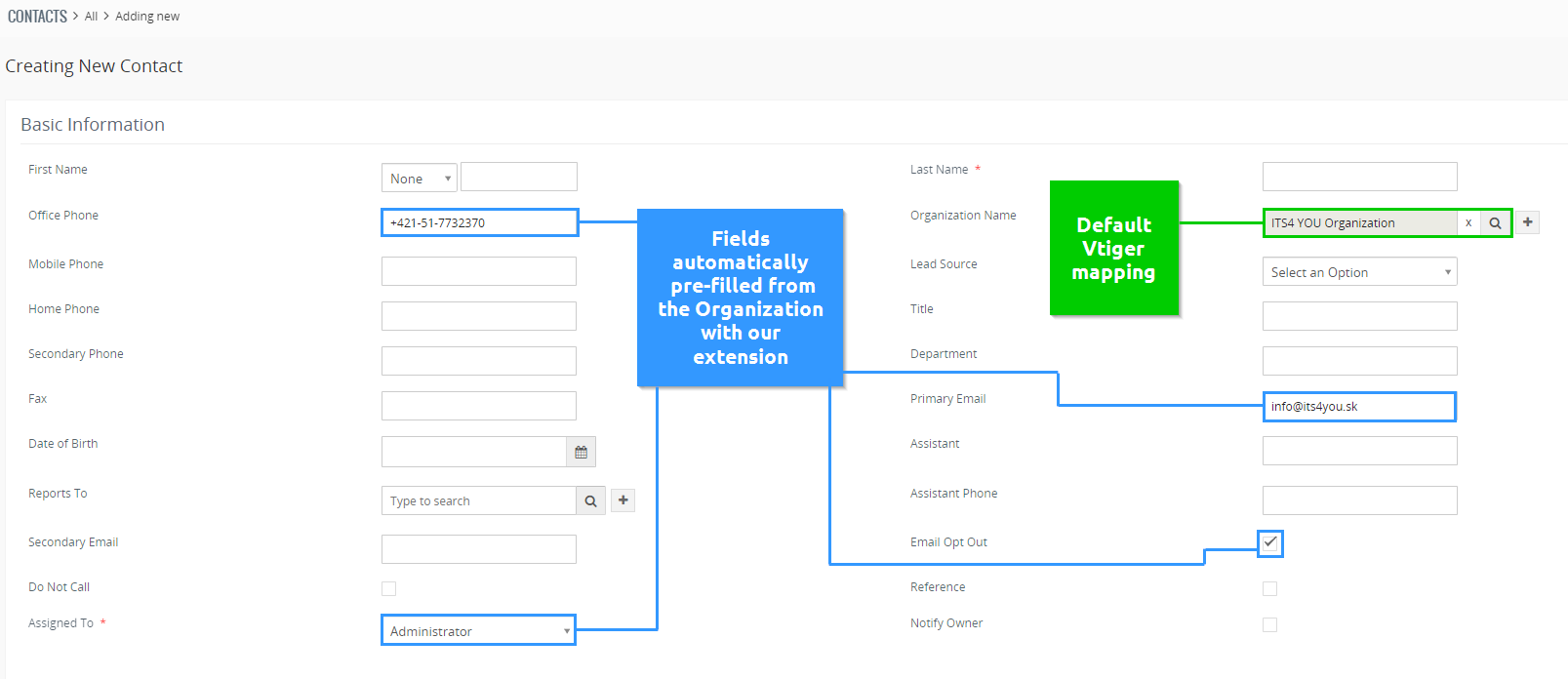 """After selecting """"Create Contact"""" you will be redirected to the Contact creation/edit window. Now all fields we added to the field mapping are pre-filled"""