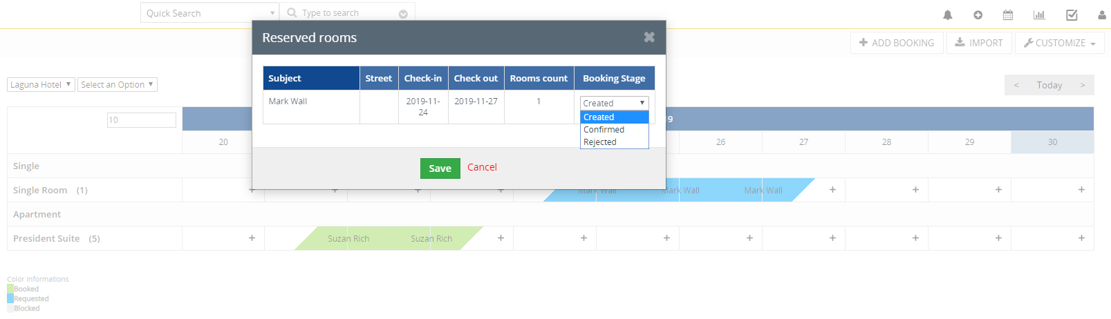 Change reserved rooms booking stage easily