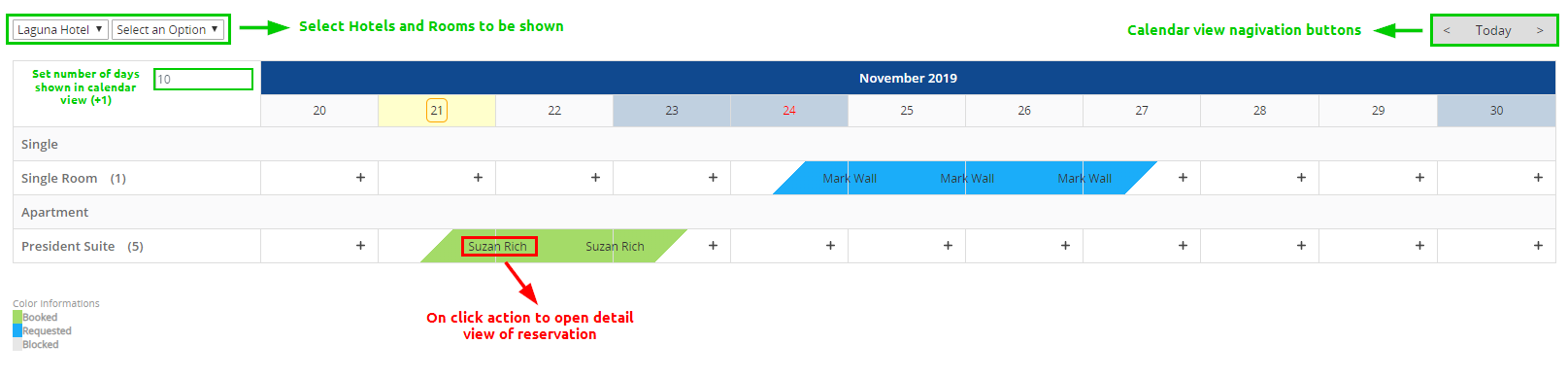Actions in the Hotel Booking calendar view
