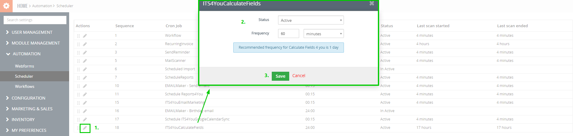 the calculations provided for Calculated Fields are done automatically based on scheduler