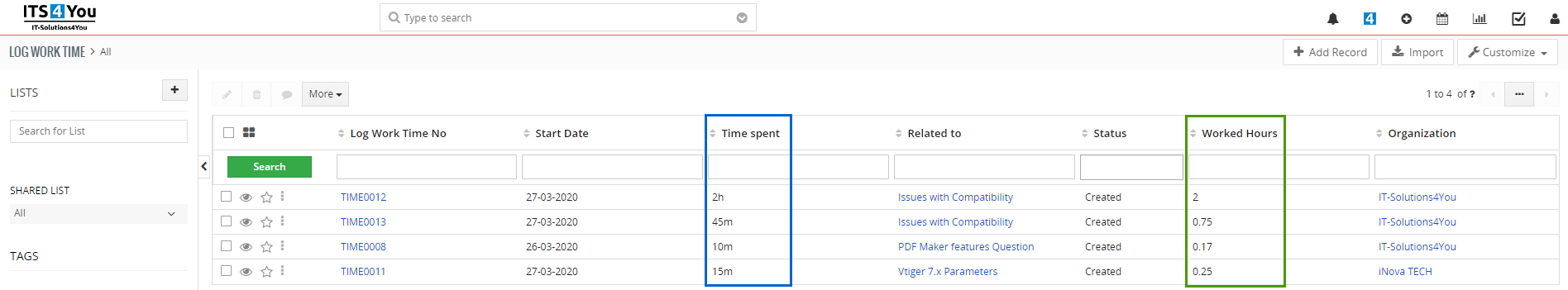 Track time spent on your Project Tasks or Tickets