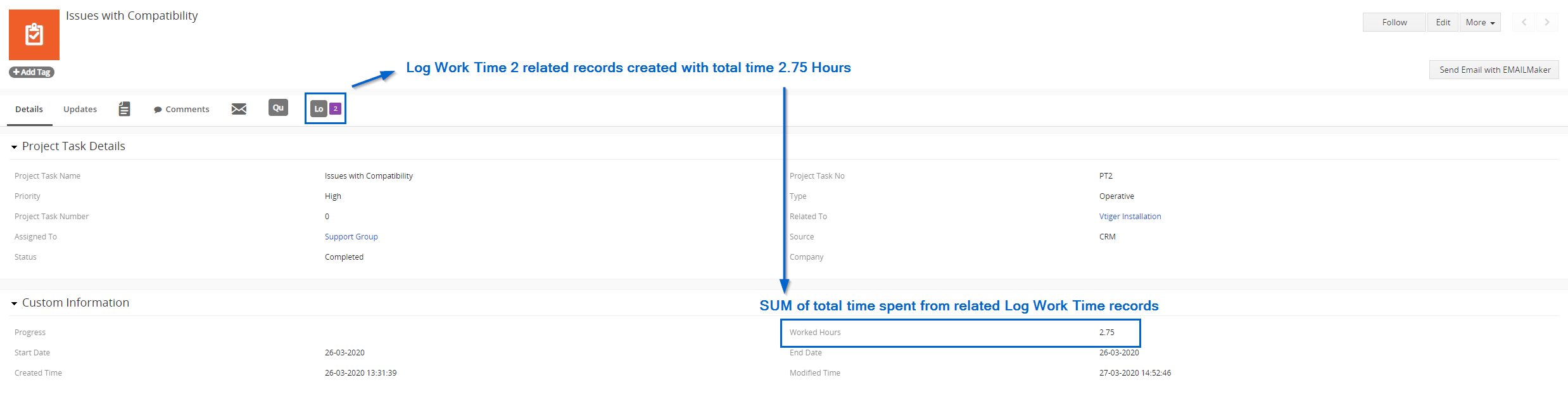 Calculation (SUM) of time worked in Tasks or Tickets modules