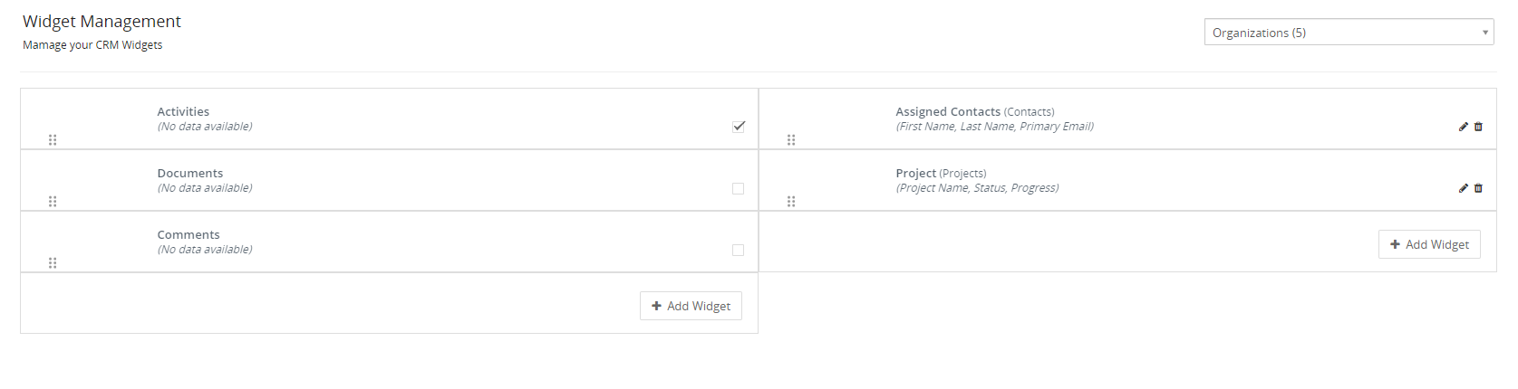 Settings view widget management vtiger