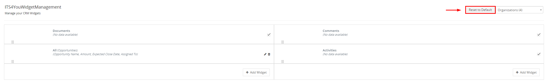 Widget Management for Vtiger CRM- Reset to default feature