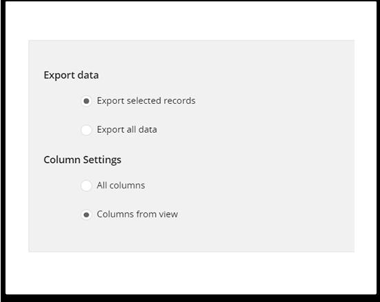 Select Data & Columns for export vtiger