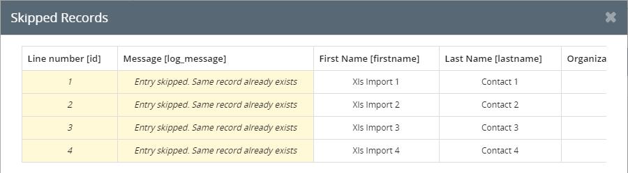 XLS import skip method