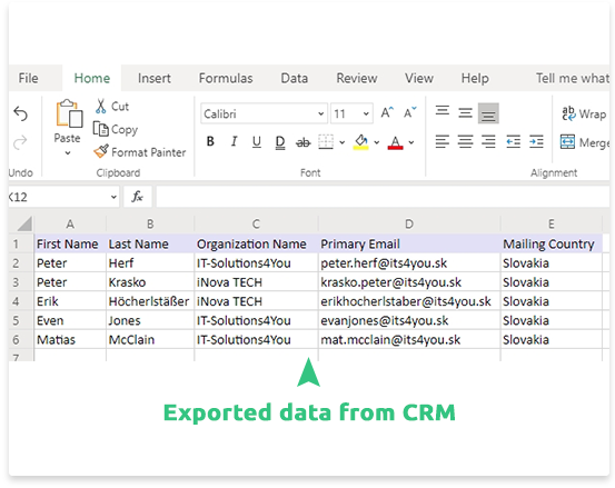 Manage/Edit exported .xls files Exported .xls files can be customized to your needs. You can also change some data in the .xls file and then import them into the CRM system using our XLS Import extension.