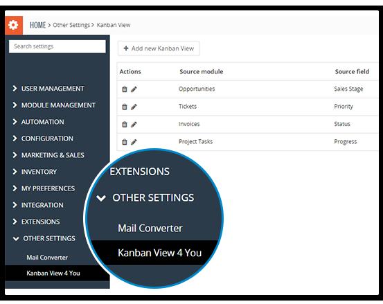 Kanban View for Vtiger CRM interface