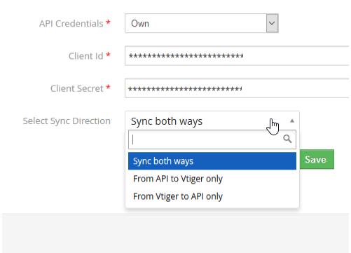 Vtiger Outlook Intergration - Sync Direction