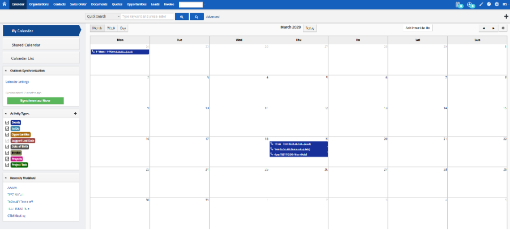 Vtiger CRM Outlook Plugin - Vtiger Calendar