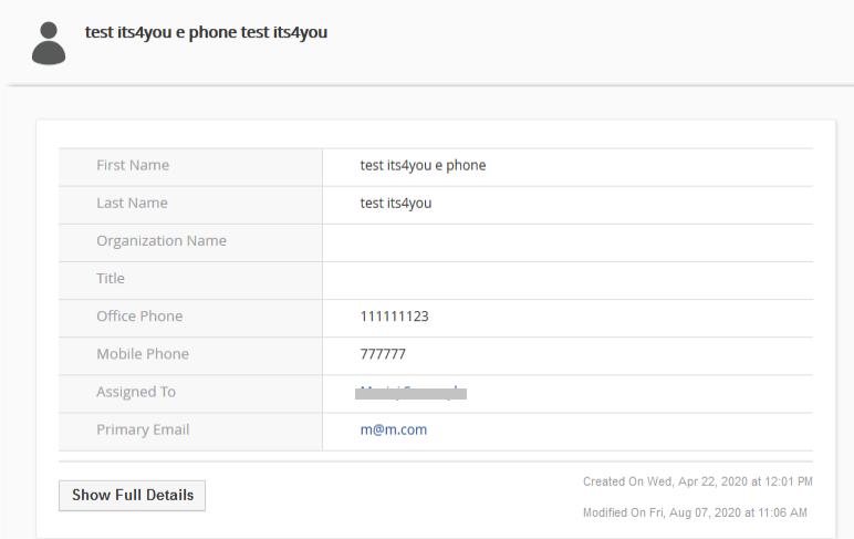 Vtiger CRM Outlook 365 Integration - Vtiger Contactdetail