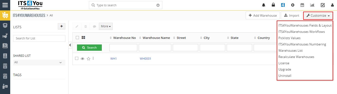 Warehouses - Settings