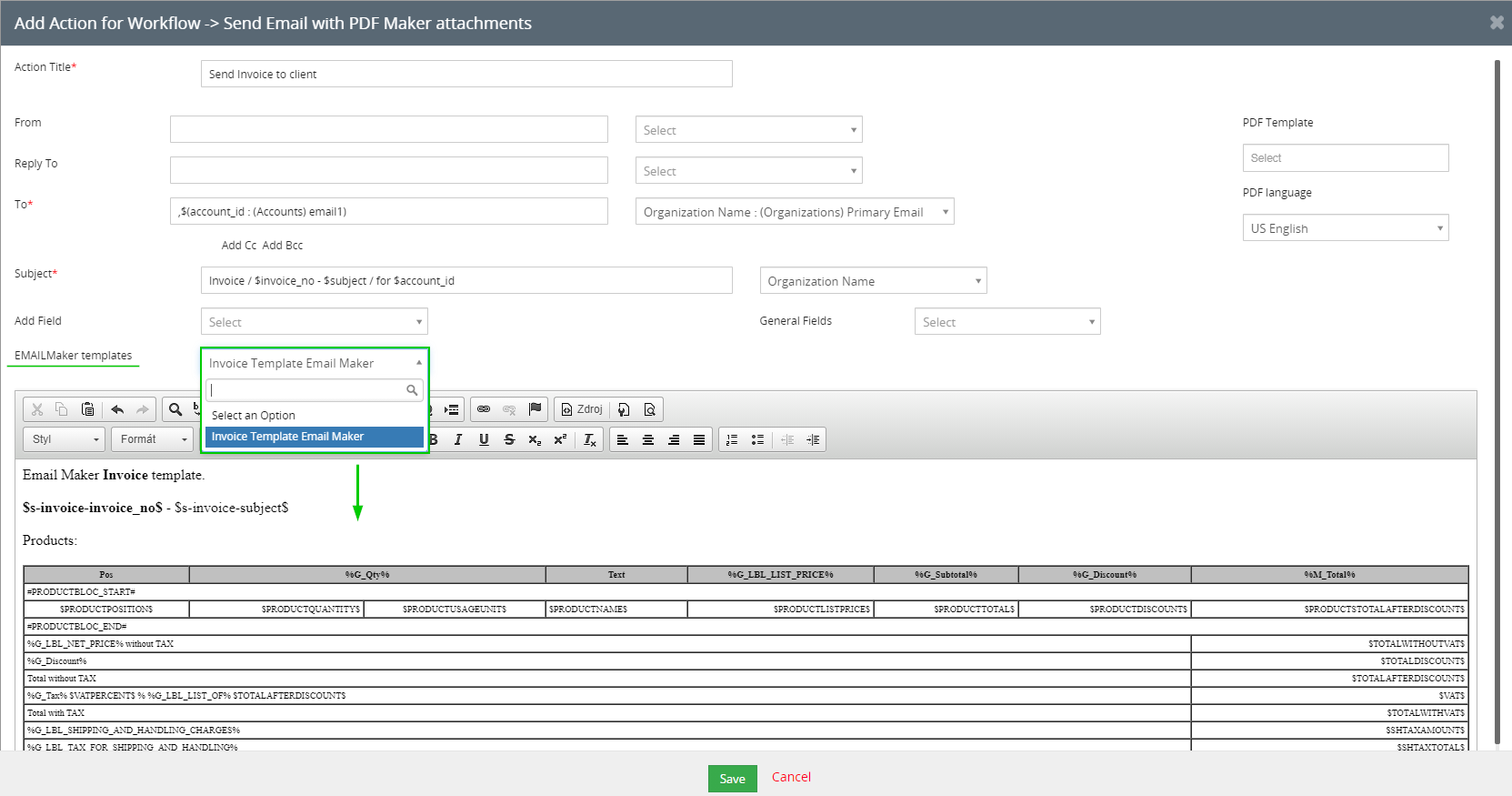 vtiger features news - Ability to use Email Maker template content in the body of the email via Workflow action Send email with PDF maker attachments.