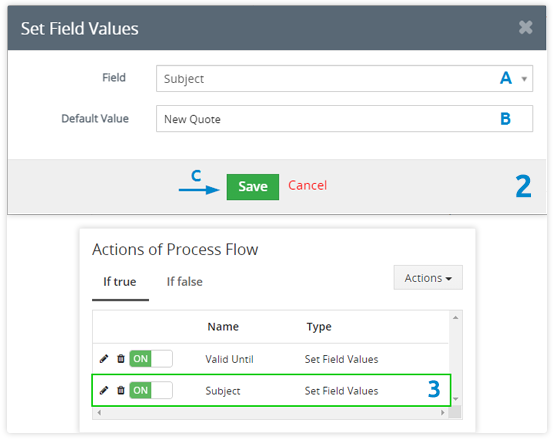 select which field you want to fill and set a value for this field
