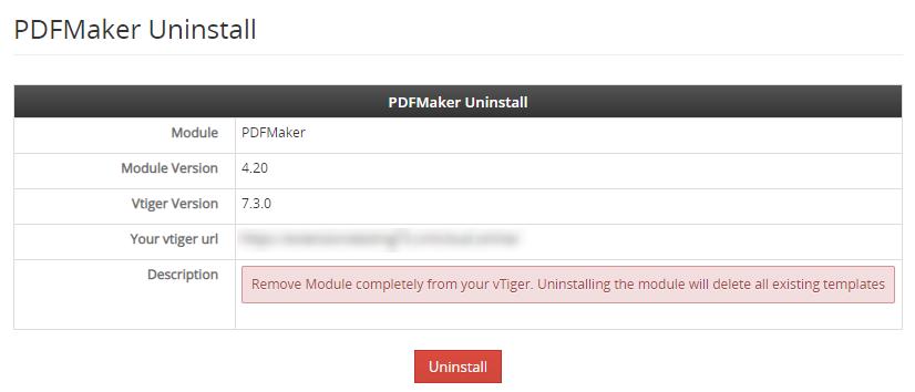 vtiger pdf maker new uninstall label