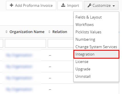 PreInvoice integration settings