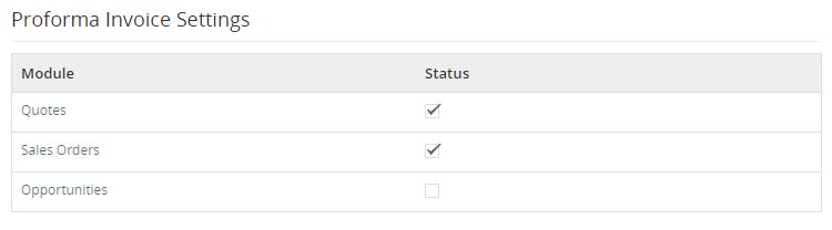 Proforma Invoice integratiron